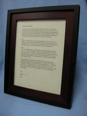 Groom's framed letter to parents (left-facing)
