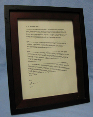 Groom's framed letter to parents (right-facing)